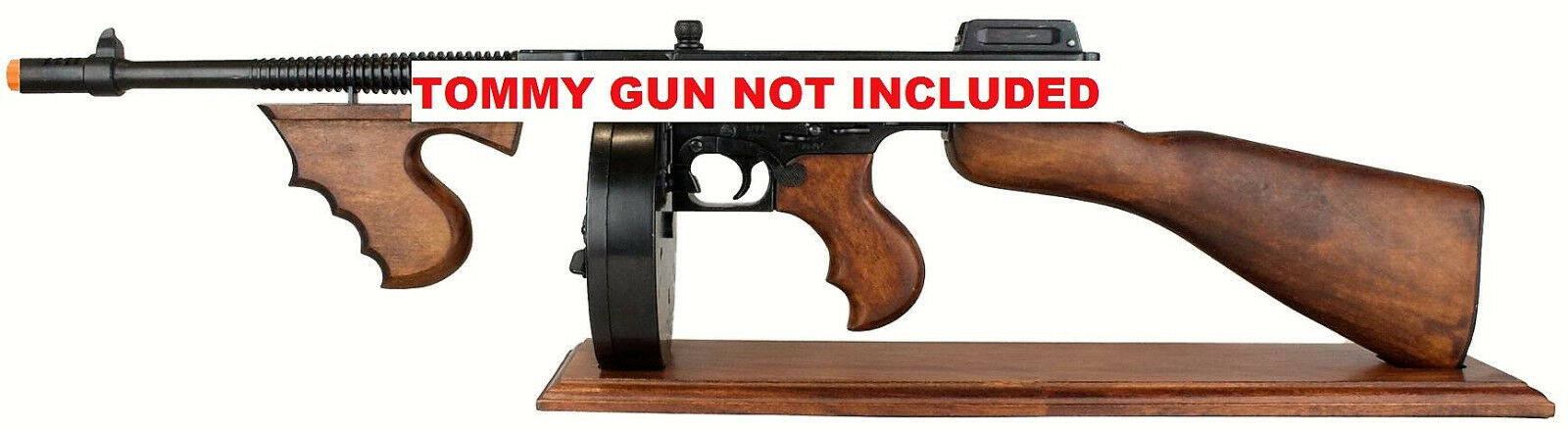 Details about Wood Display Stand for Denix Non-Firing Replica Thompson  Submachine Gun