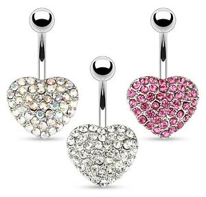 Image Is Loading Large Crystal Heart Belly Bar Pick Colour Amp