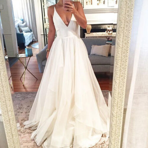 Women Lace Formal Wedding Prom Ball Gown Evening Party Bridesmaid Long Dresses