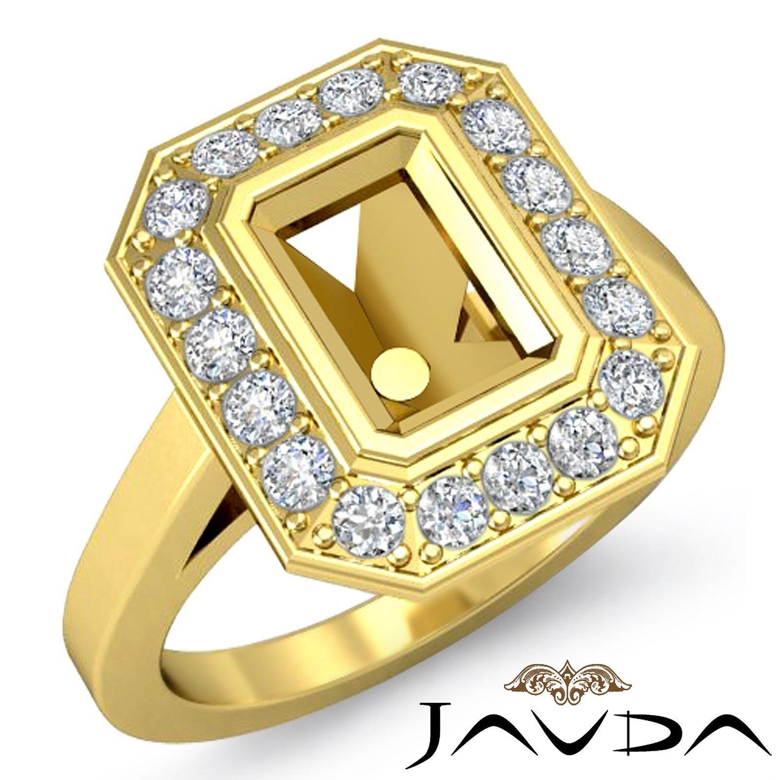 Halo Bezel Diamond 18k Yellow gold Engagement Emerald Cut 0.3Ct Semi Mount Ring