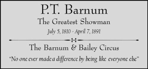 PT Barnum Custom Laser Engraved 2 x 4 inch Plaque FREE SHIP