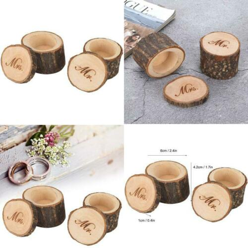 Aunmas 2Pcs Vintage Wedding Ring Box Rustic Wooden Ring Container Jewelry Holder
