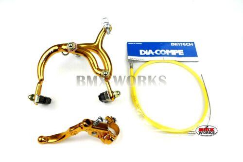Genuine Dia-Compe MX890 MX121 Rear Brake Kit Gold Old School Retro BMX