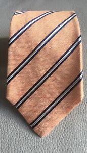 Kiton-Napoli-Orange-Blue-Striped-Silk-Tie-Made-in-Italy