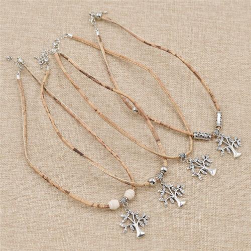 1pc Cork Rope Charm Necklace Tree Beads Metal Trendy Women DIY Craft Jewelry