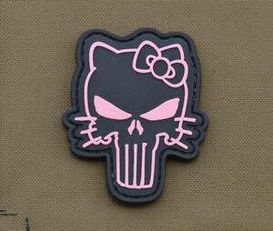 PVC-Rubber-Patch-034-Pink-Kitty-Punisher-034-with-VELCRO-brand-hook