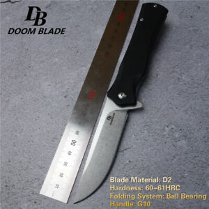 Knives-G10-Handle-D2-Blade-Ball-Bearing-Folding-Camp-Hunting-Pocket-Outdoor-EDC