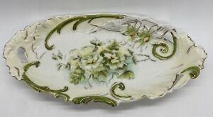 Antique German Porcelain Oblong Bon Bon Relish Dish Plate