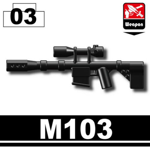 M103 (W122) Special Forces sniper rifle compatible with toy brick minifigures