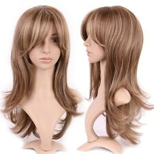 Woman blonde highlights brown hair long natural straight wigs a natural hair wig long curly straight ombre wigs women ladies cosplay party dress pmusecretfo Gallery
