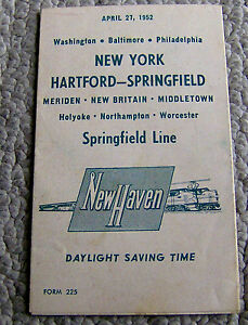 vintage 1952 NEW HAVEN RAILROAD timetable SCHEDULE New York-Hartford-<wbr/>Springfield