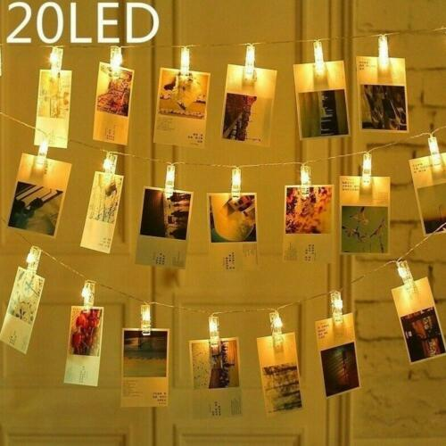 20 LEDs Photo Clips String Lights Hanging Photos Pictures Cards Wedding Decor