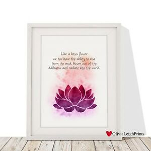 Lotus Flower Yoga Meditation Positive Thinking Spiritual Wall Art