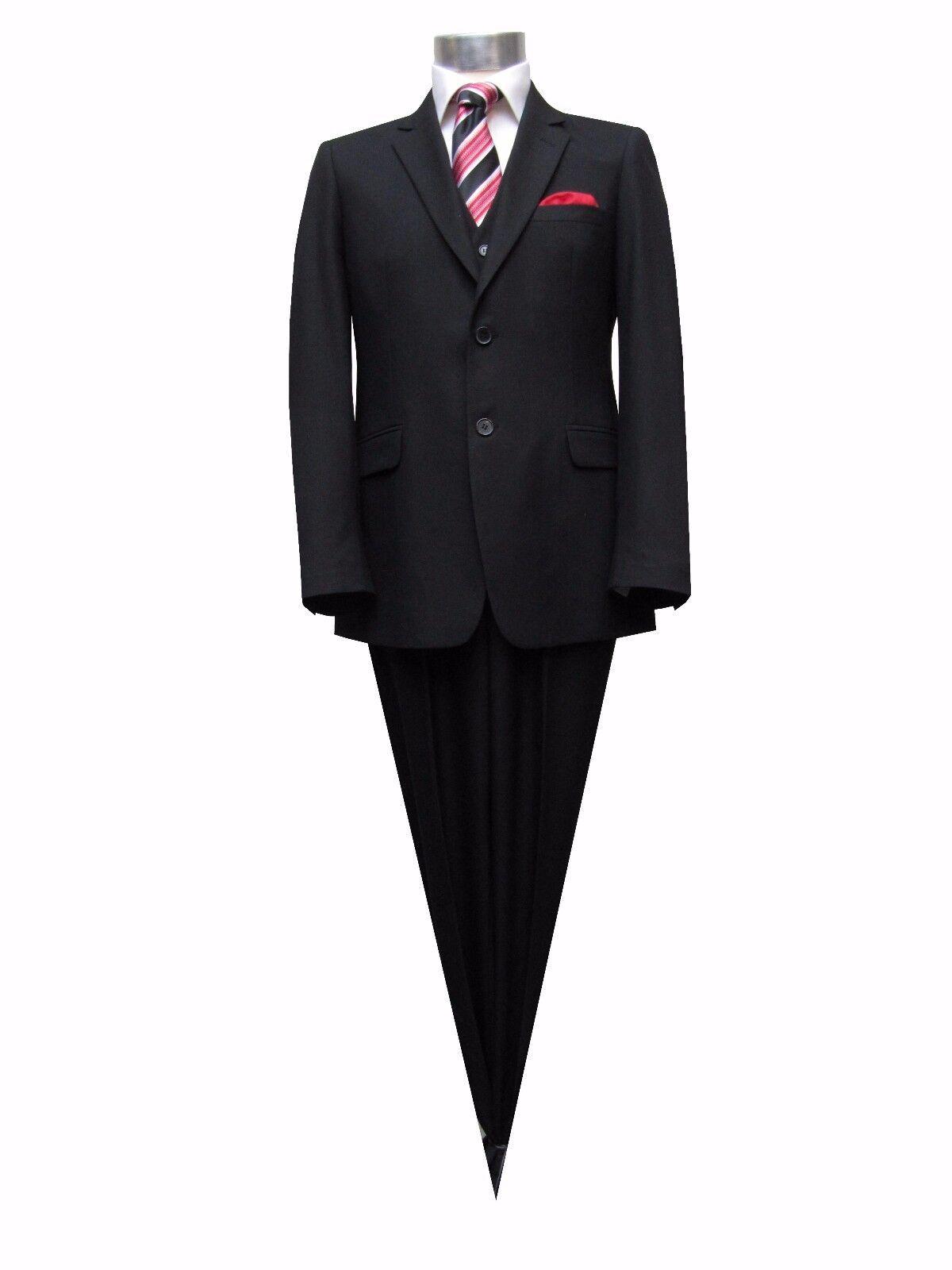 Herren Anzug mit Weste Klassisch Gr.72 Schwarz