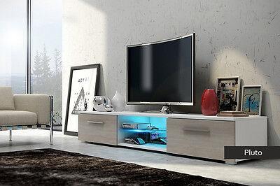 Mobile per TV Alan 140 cm nero opaco//nero lucido LED blu