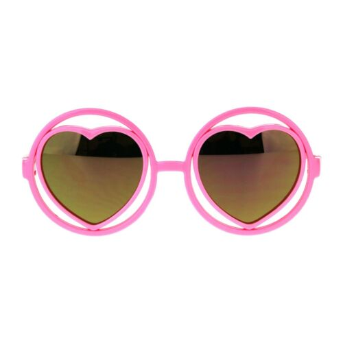 Girl's Fashion Sunglasses Heart Inside Round Circle Frame