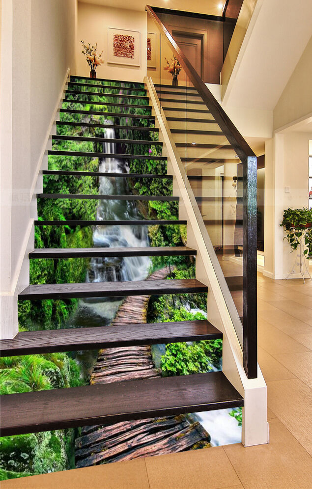 3D Wald Fluss 645 Stair Risers Dekoration Fototapete Vinyl Aufkleber Tapete DE
