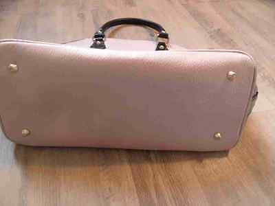 MADE IN ITALY stylische LederTasche rosa schwarz TOP ZC517
