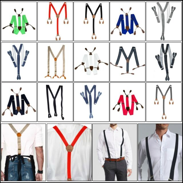 25mm Wide Elasticated Heavy Duty Adjustable Suspender Braces Leather Button Hole