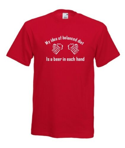 BALANCED DIET. FUNNY SLOGAN MEN T-SHIRT SIZE FROM S TO XXXL GIFT