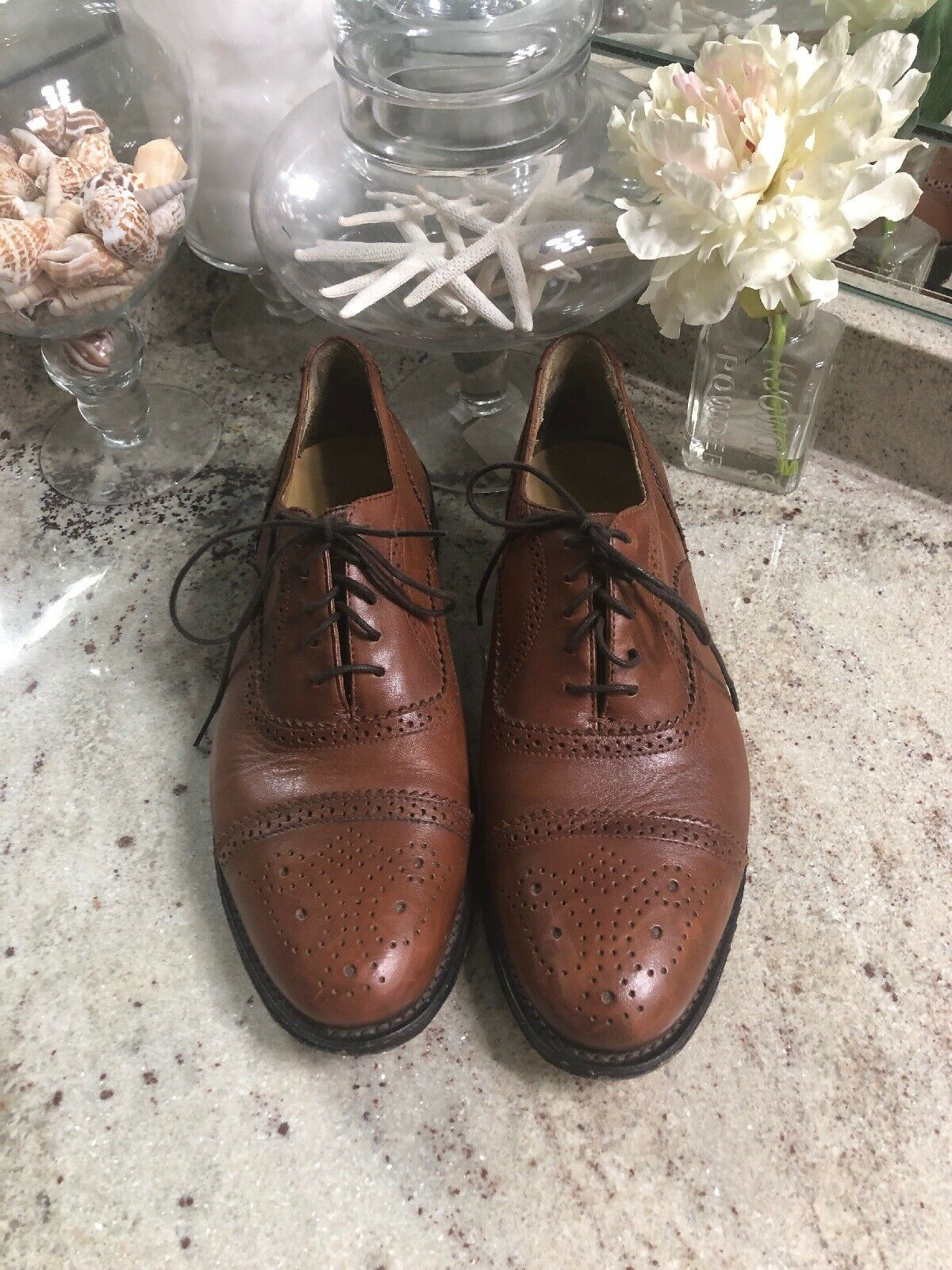 Men's  346  Brooks Bredhers Tan Brown Leather Brogue Wingtip shoes Sz 9 1 2 D