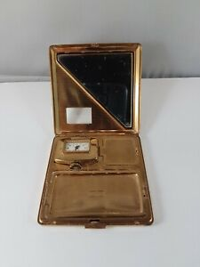 Vintage collectible ladies powder compact with watch, Rare collectible item !