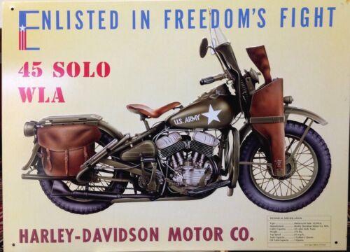 HARLEY DAVIDSON 45 SOLO WLA Tin Sign Garage Vtg Bar Wall Decor 30x40cm