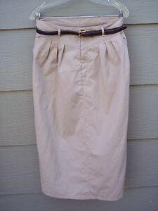 Levis-Group-Twelve-Skirt-Sz-14-Womens-Aline-Beige-with-Belt-Career-Vintage-USA