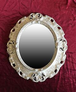 Wandspiegel spiegel wei silber oval 45x38 barock antik repro vintage 345 12 ebay - Spiegel oval silber ...