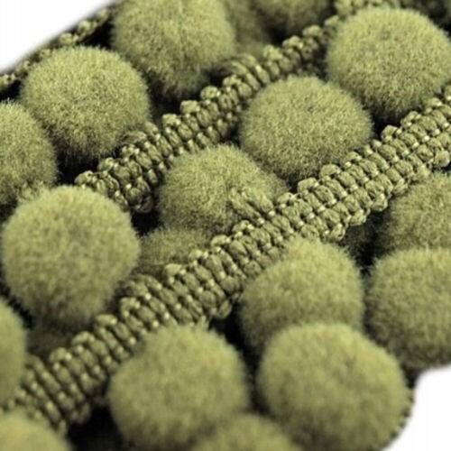 Qualité pompons 10 mm Bobbles 18 mm largeur totale Ruban Couleurs Diverses Pom Pom Trim