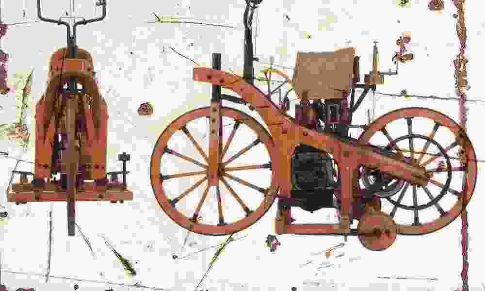 Daimler 1885 Envejecido Vintage sign A3 Retro Grande Retro A3 bc1546