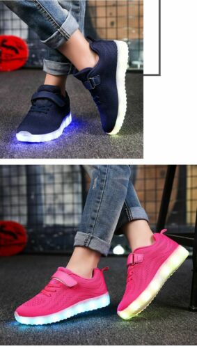 LED Shoes For Boys Girls USB Charger Kids Luminous Glowing Sneakers With Lights