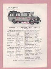 GAGGENAU Typentafel 1934 Daimler-Benz AG Mercedes Omnibus L o 2750, LKW L o 3000