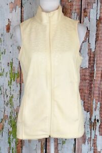 Women-039-s-Small-Fleece-Vest-Zipper-Front-Top-Embossed-Floral-Ivory-Basic-Editions