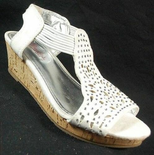 New Girls Youth Darci Wedge Dress Sandals Style 184777 White 99P lr