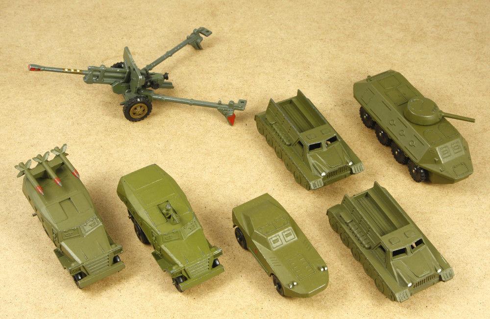 Rusia URSS Vintage Lote De 7 vehículos militares de metal coches de juguete Diecast