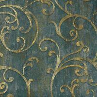 Tapete Barock Struktur Blau Grün Gold Tapeten Rasch Textil Angelica 109536 (9,35