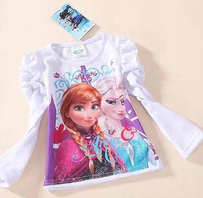 Ragazza Disney Frozen Elsa manica lunga Top Rosa Bambini Maglietta Nuovo