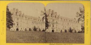 Chateau-de-Chenonceau-France-Photo-Stereo-BK-Paris-Vintage-Albumine-ca-1870