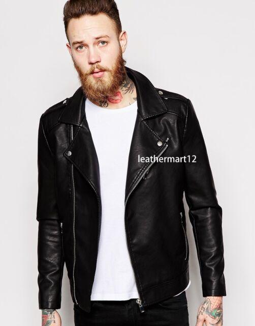 100% Genuine Lambskin Black Leather Designer Biker Jacket Men's - AFV_LJT_27