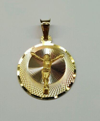 14k solide Tri Couleur Or Jésus-Christ SAPRISTI Round Charm Pendentif 21 mm