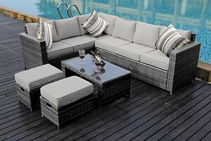 NEW Outdoors 8 Seater Rattan Corner Sofa Set Garden Furniture Grey with Cover