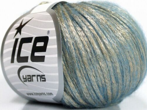 Rock Star 52019 Light Gold Blue Metallic Sheen Soft Nylon Merino Wool Yarn 50g
