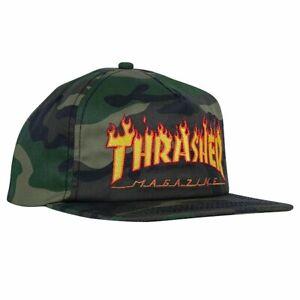 Thrasher-Magazine-Flamme-Camo-Logo-Skateboard-Muetze-Snapback-Cap-Herren-schwarz-NEU
