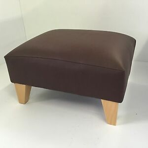 Small Footstool Pouffe Stool Present Brown Faux Leather