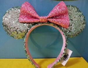 New-Disney-Parks-Sugar-Rush-Mint-Headband-Green-amp-Pink-Glitter-Minnie-Sequin-Ears