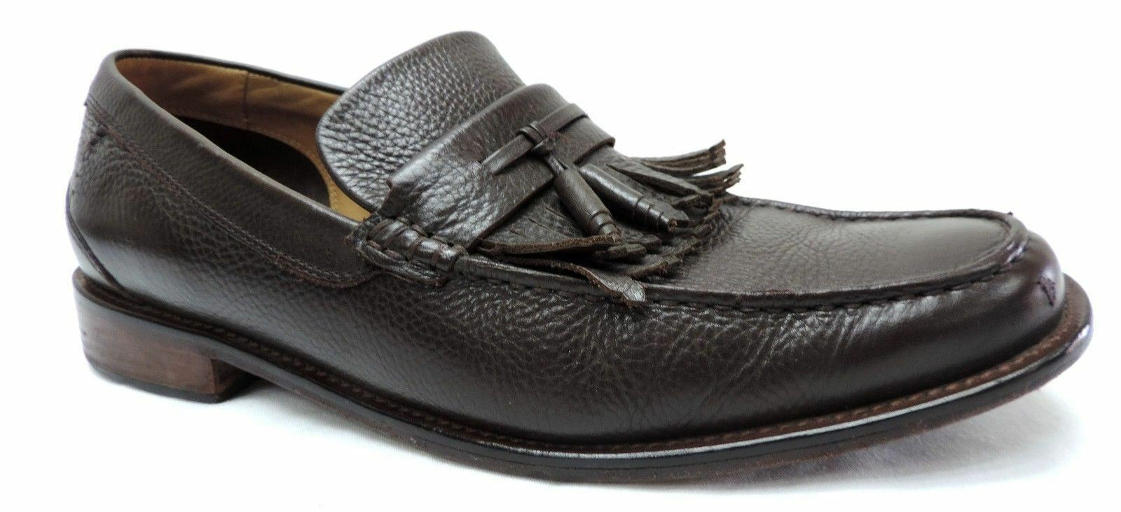 H.S. Trask men's 11 M brown leather loafers with tassels comfort shoes dress
