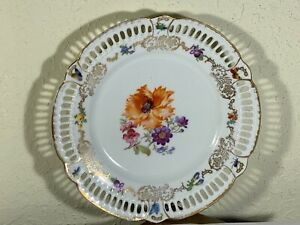 Antique Reticulated Edge Porcelain Plate Poppy Flowers & Insects Gold Trim