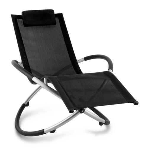 Noir Pliable Chaise Longue Bascule Chaise Inclinable Jardin Patio Meubles Moon