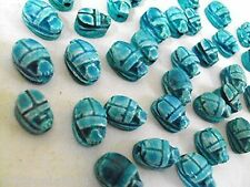 205 12 Egyptian Scarab Beetle HANDMADE Ceramic Stone Beads for Jewelry XS RARE